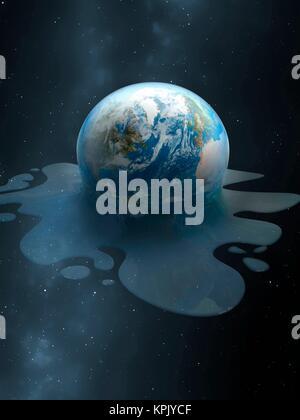 Eine Abbildung der Erde schmelzen wie eine Kugel Eis. Dies ist eine konzeptuelle Darstellung das Abschmelzen der - Stockfoto