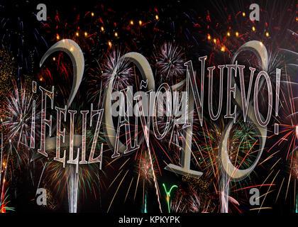 ¡Feliz Año Nuevo! Feuerwerk 2018 Frohes neues Jahr in Spanisch. Neue Jahre Konzept in Spanishl ohne Jahr verfügbar, - Stockfoto