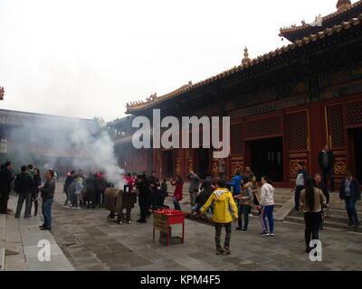 Yonghegong Lamatempel. Die Halle der Harmonie und des Friedens. Eines der größten und wichtigsten tibetischen buddhistischen - Stockfoto