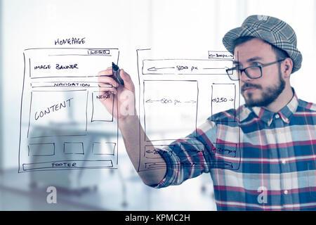 Web Designer Zeichnung Website Entwicklung Drahtmodell Stockfoto ...