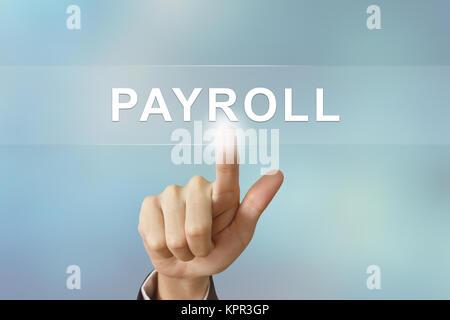 Business hand Personalabrechnung klicken Sie auf unscharfen Hintergrund - Stockfoto
