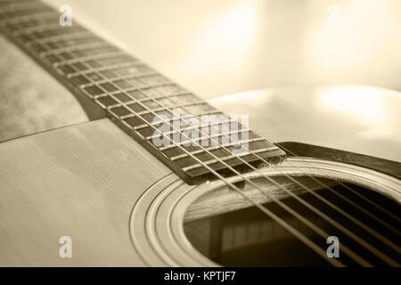 Close up akustische Gitarre detail vintage Filter - Stockfoto