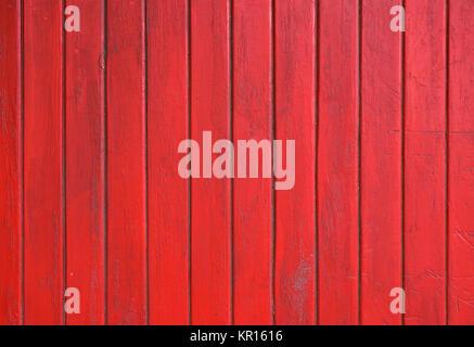 Red grunge bemalten hölzernen Planken Panel - Stockfoto