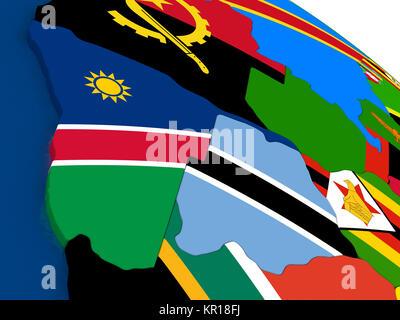 Namibia und Botswana auf 3D-Karte mit Flaggen - Stockfoto