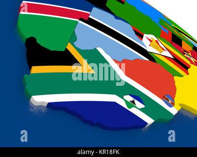Südafrika auf 3D-Karte mit Flaggen - Stockfoto