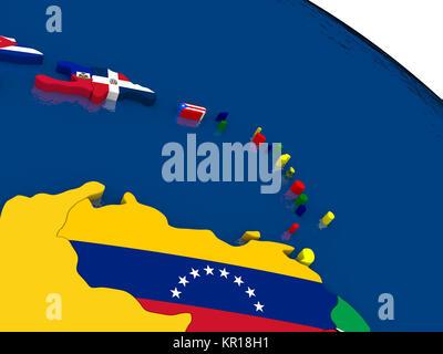 Südlich Karibik auf 3D-Karte mit Flaggen - Stockfoto