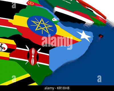 Somalia und Äthiopien auf die 3D-Karte mit Flaggen - Stockfoto
