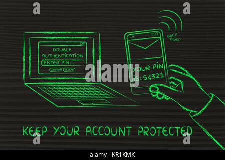 Doppelte Authentifizierung und Sicherheit, Illustration mit Laptop und Text auf Telefon - Stockfoto