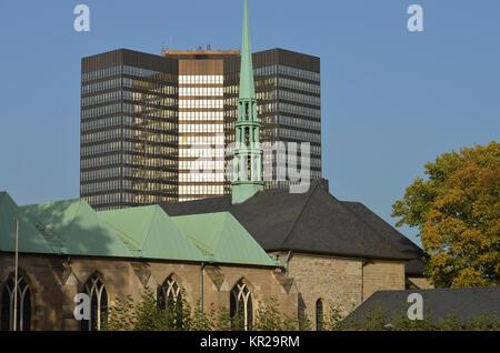 Essener Dom Und Rathaus Essen Deutschland Stockfoto Bild
