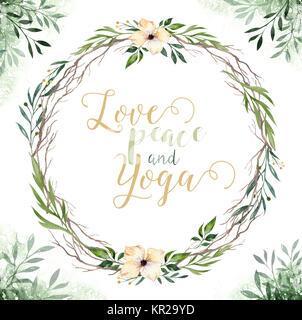 Hand gezeichnet Aquarelle grün Blätter und Blumen Kränze. Boho style Grün und Gold. Abbildung auf weißen isoliert. - Stockfoto