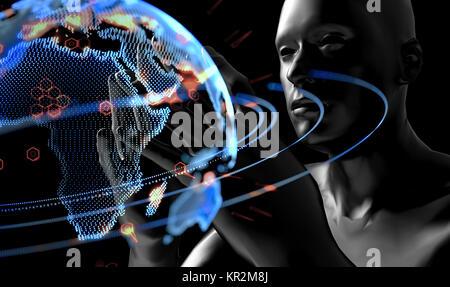 Cyber Kommunikation und Künstliche Intelligenz (KI) störende alles Technologie Konzept. 3D-Rendering von Roboter - Stockfoto
