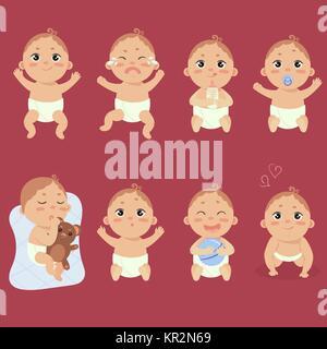 Set mit niedlichen kleinen Baby in Windel mit unterschiedlichen Emotionen. Verschiedene Gesichts Ausdrücke. Glückliches - Stockfoto