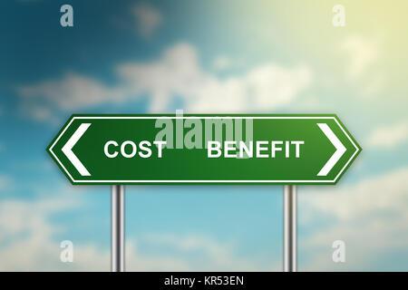 Kosten und Nutzen auf grünem Schild - Stockfoto