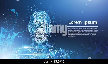 Low Polygon menschliches Gesicht Drahtmodell Mash auf grauem ...