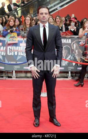 Sebastian Stan besucht die Europäische Premiere von Captain America: Bürgerkrieg im Westfield Shopping Centre in - Stockfoto