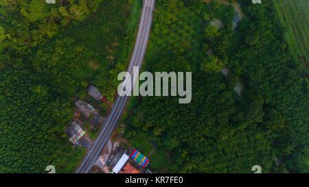 Luftaufnahme über Berg Straße durch Wald Landschaft im Morgen gehen - Stockfoto