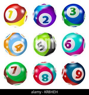 Satz von Lotterie farbigen Anzahl Kugeln - Stockfoto