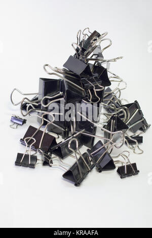 Metall binder clips für Papier, Schwarz, verschiedene Größen, vertikale Hill - Stockfoto