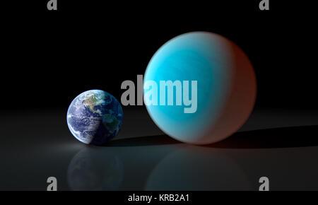 Dieses Konzept Künstler Kontraste unsere vertraute Erde mit den besonders seltsame Planet um 55 Cancri e bekannt. - Stockfoto