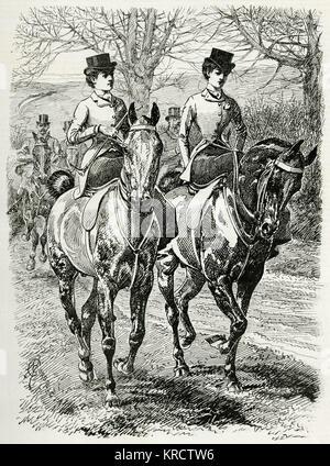 Zwei Frauen reiten in th Landschaft, Seite Sattel. Datum: 1895 - Stockfoto