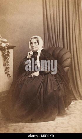 Ein viktorianisches Witwe, Frau Lort Mansel (1789-1866), der aus einer alten walisischen Familie kam. Hier im schwarzen - Stockfoto