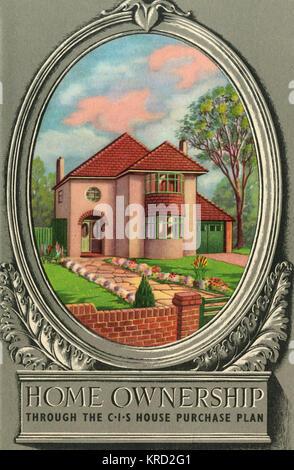 Abdeckung an der Vorderseite von einer Broschüre Beratung potenzieller Bauherren auf einem Haus Purchase Plan, mit - Stockfoto