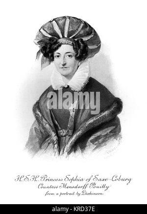 H.S.H Prinzessin Sophia von Sachsen-Coburg-Saalfeld, Gräfin Mensdorff Pouilly (1778-1835), die Schwester von König - Stockfoto