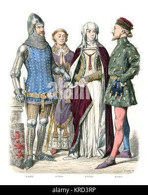 Vintage Gravur des englischen Mittelalters Mode von edlen Menschen, aus dem 14. Jahrhundert. Ritter in Rüstung, Priester, Lady und Höfling Stockfoto