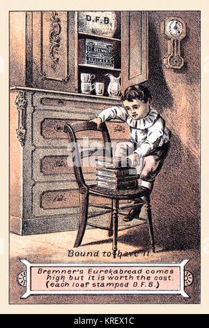 """'Victorian Handel Karte für ein Brot/Cracker, D.F. Bremners Cracker'' gebunden, es zu haben.'' Das Bild zeigt eine junge, Klettern auf einem Stuhl und Abgelegte Bücher zu behandeln, und liest, ''Bremners eureka Brot kommt hoch, aber es ist wert die Kosten (jeder Laib gestempelt D. F.B.)'' das Bild tatsächlich eine in einer Reihe von Veranstaltungen in einer Reihe von Karten dargestellt, Käufer und Ihre Kinder können Sie sammeln."""" Stockfoto"""