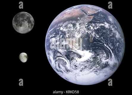 Iapetus, Erde & Mond Größe Vergleich - Stockfoto