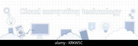 Die Cloud Computing-Technologie Wort auf Karierter Hintergrund horizontale Banner-Konzept - Stockfoto