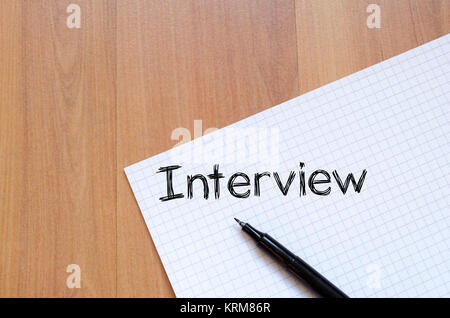 Interview text Konzept auf Notebook - Stockfoto