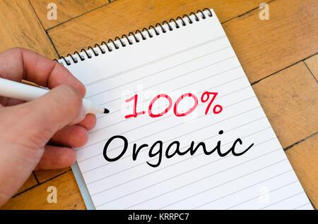 100% Bio Konzept auf Notebook - Stockfoto