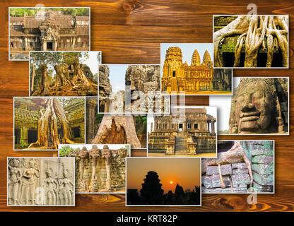die collage aus bildern von angkor wat in kambodscha stockfoto bild 169231435 alamy. Black Bedroom Furniture Sets. Home Design Ideas