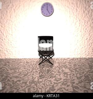 Stuhl unter einem Wecker, Wartezimmer - Stockfoto