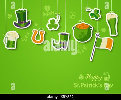 Happy St Patricks Day Grußkarte. - Stockfoto