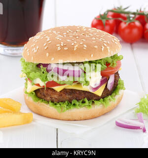Cheeseburger Hamburger Burger Menü Menü Menue Cola Getränk Fast Food - Stockfoto