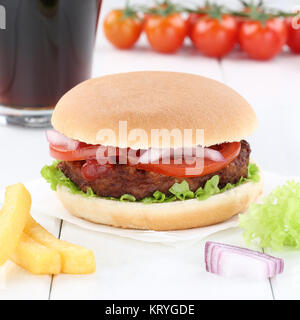 Hamburger Burger Menü Menü Menue Cola Getränk Fast Food - Stockfoto