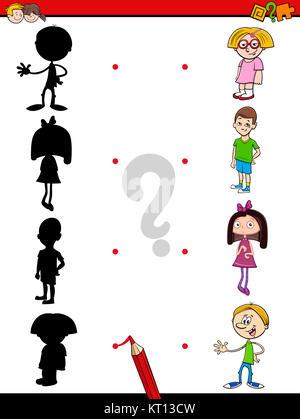 Ordnen Sie die Schatten Kinder puzzle Spiel mit cute cartoon ...