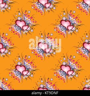 Nahtlose Muster. Satz von Grunge Herzen - Stockfoto
