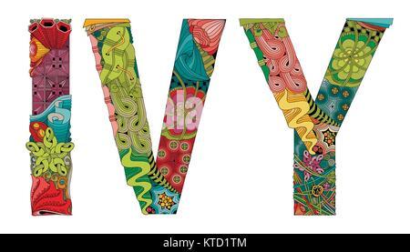 Wort IVY. Vektor dekorative zentangle Objekt - Stockfoto