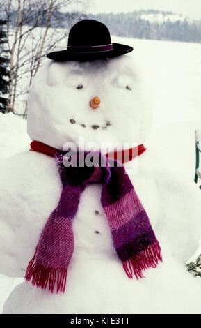 Schneemann mit Hut 2010 - Stockfoto