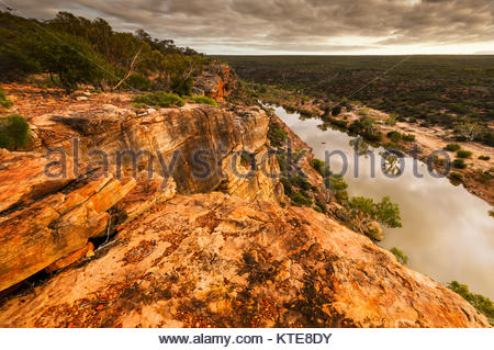 Schroffe Klippen am Murchison River Gorge in Kalbarri National Park. - Stockfoto