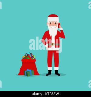 Cartoon Santa Claus Gespräch am Handy - Stockfoto