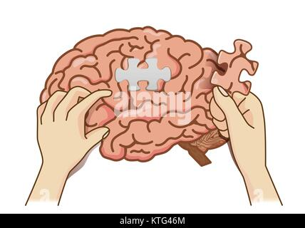 Hand einfügen das letzte Stück, das Gehirn puzzle Jigsaw abzuschließen. - Stockfoto