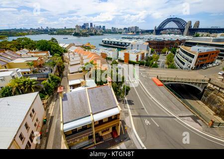 The Rocks, die Sydney Harbour Bridge und North Sydney, Ansicht von Henry Deane Dachterrasse bei Henry Deane, Sydney, - Stockfoto