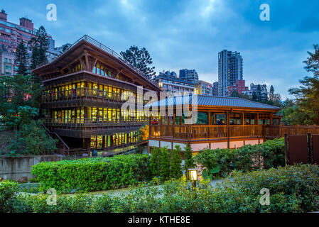 Nacht der Bibliothek in beitou, Taipei, Taiwan - Stockfoto
