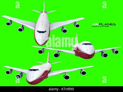 Satz von 3 Flugzeuge im Flug - Stockfoto