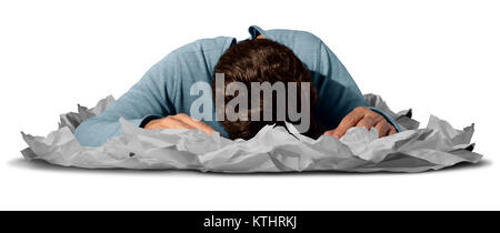 Bei der Arbeit als Arbeiter oder Angestellter erschöpft schlafen in einem Stapel Papiere als Büro Frist oder Workaholic - Stockfoto