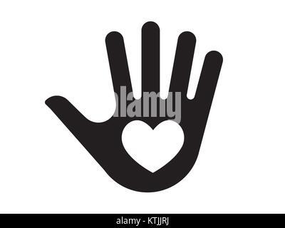 Palm hand mit Herz Symbol. Vector Illustration. - Stockfoto
